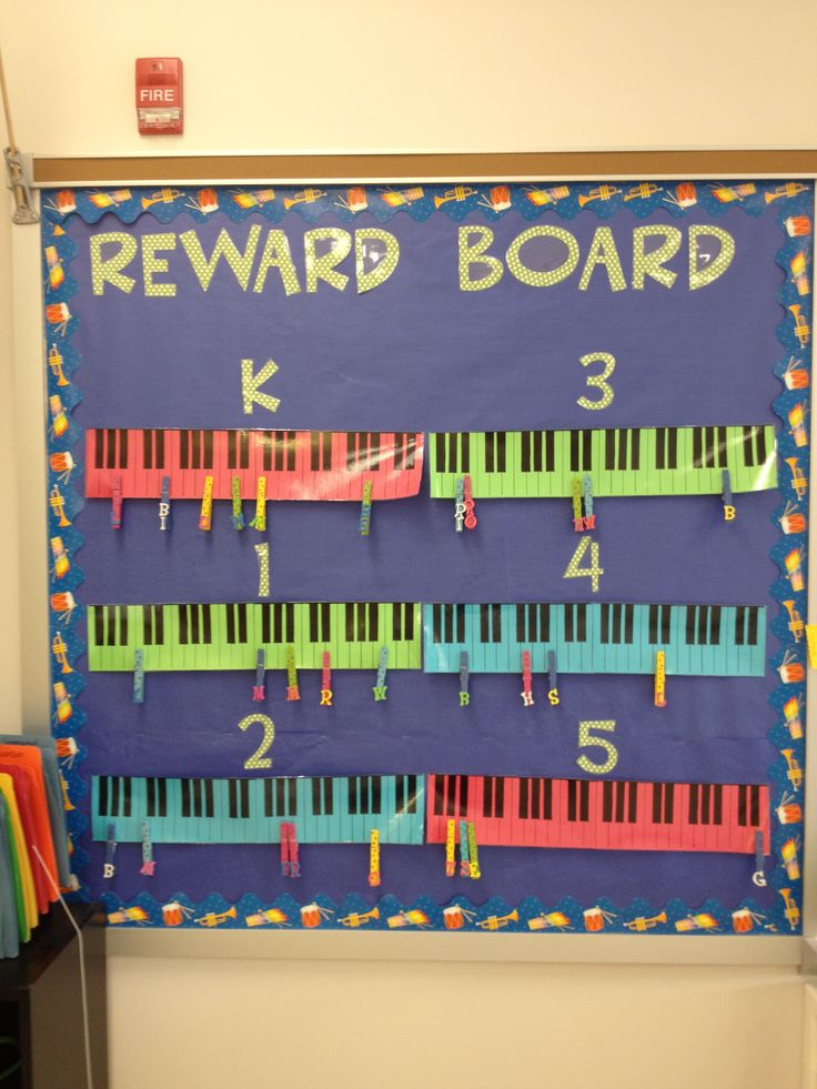 "Class Behavior Chart to work for Center Days and/or Music game.  Change title  "" Who's got scale?""  or  ""Steps to Success""    Daily Class Behavior have them move up the scale * 2 steps for entering quietly/  2 steps for leaving quietly  Four- 1 step following directions, focus, completing days activity, attitude...etc...    Chorus  Motivation to memorize songs  Each clip represents a differ song."