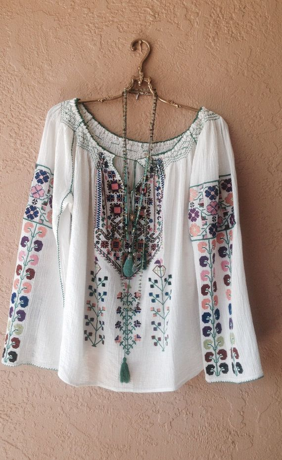 Romanian inspired bohemian Hand embroidered Peasant top with colorful tribal design organic cotton