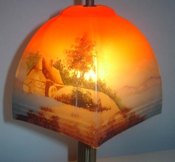 Vintage 1920's 30's Czech Glass Lampshade Hand Painted, £35.00
