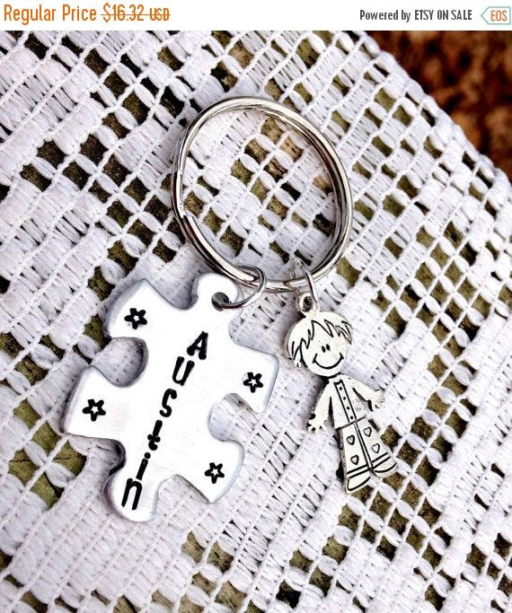 Puzzle Piece Key chain, Backpack Zipper Pull, Hand Stamped Gift, Name tag, initial, Christmas Gifts, Best Friend gift, Puzzle Jewelry, boy