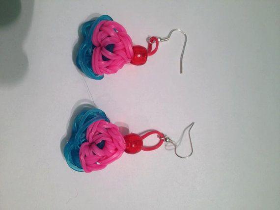 Cupcake themed Rainbow Loom Earrings by RainbowLoomwithLove, $7.50