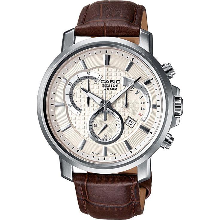 Casio Collection BEM-506L-7AVEF Elegantní pánské hodinky Casio Collection BEM-506L-7A s hnědým koženým páskem a ocelovým pouzdrem disponují mj. stopkami, datumovkou, či ukazatelem dne v týdnu.