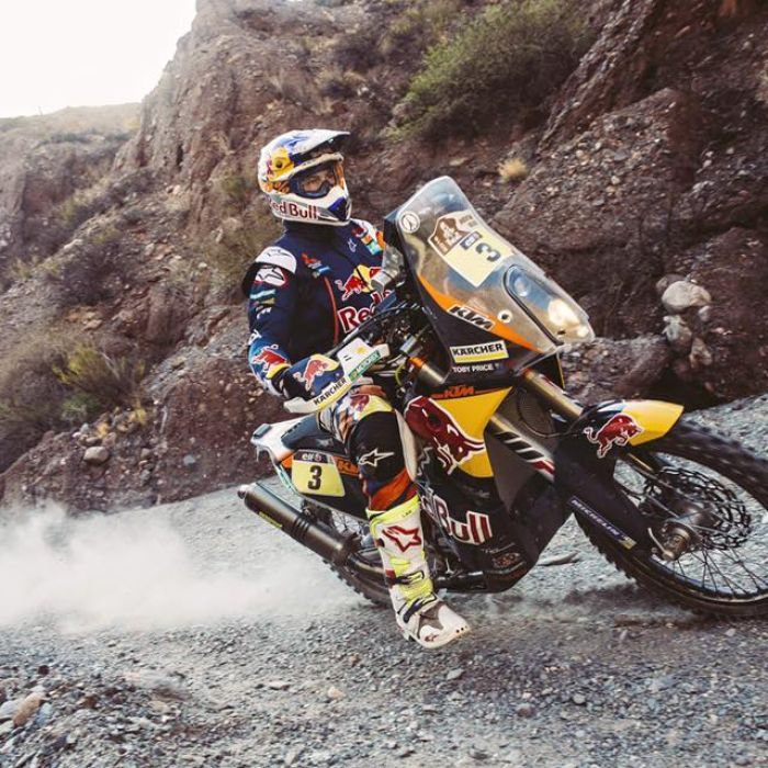 Toby Price becomes the first Australian to win in the Dakar Rally's motorcycle division, just three years after a broken neck threatened his future in the sport.