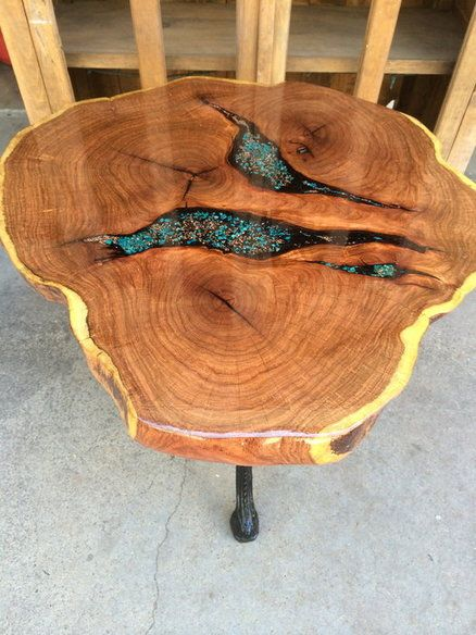 Epoxy Filled Wood Slab Table Woodworking In 2019 Wood