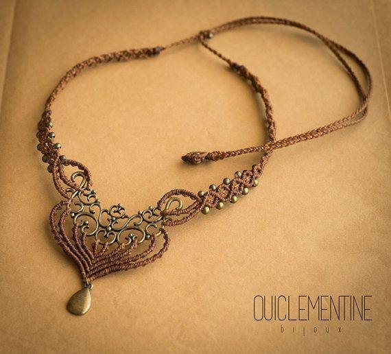 Macrame necklace, bohemian jewelry, brown macrame necklace, micro macrame…