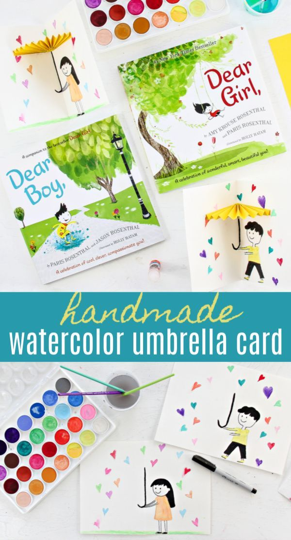 How To Make Watercolor Umbrella Cards Harperkids Umbrella