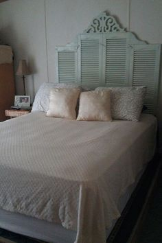 plantation shutter headboard - Google Search
