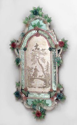 Pair of 19th Century Italian Venetian Murano Wall Mirrors with etched scene of figures in landscape and trimmed with floral colored glass flowers.