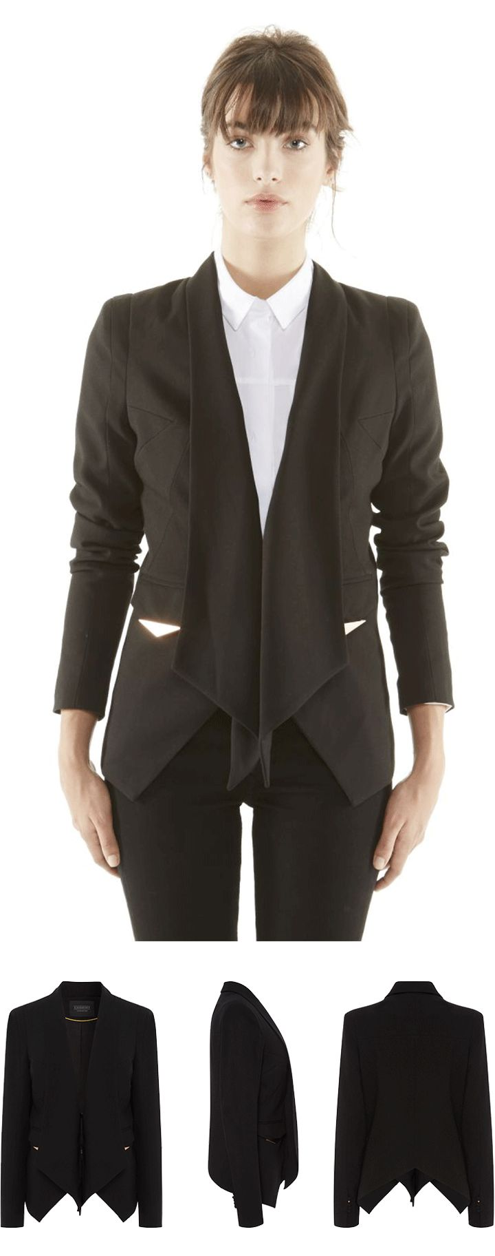 This tailoring crepe black blazer is a Fall season essential! #ElevenParis