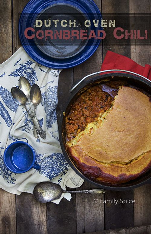 Perfect for Camping: Dutch Oven Cornbread Chili by FamilySpice.com