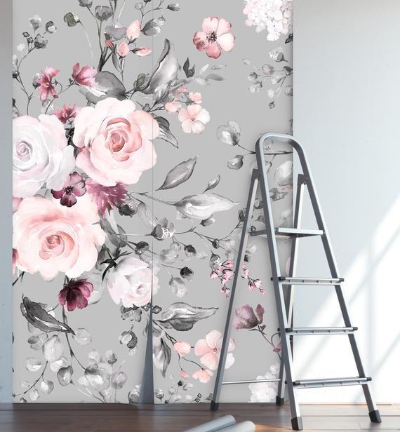 Removable Peel N Stick Wallpaper Self Adhesive Wall Etsy Grey Floral Wallpaper Peel N Stick Wallpaper Wallpaper
