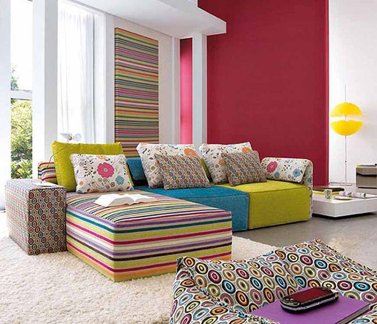 Enchanting Pink With Patchwork Furniture Living Room Design