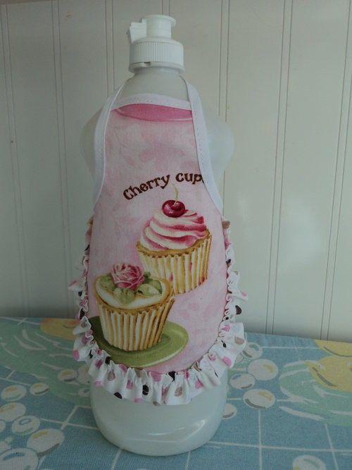 Cherry Rose Cupcakes Dish Soap Bottle Apron by LoveVanillaRose