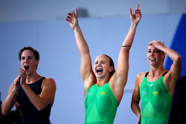 Bronte Campbell (L), Melanie Schlanger (C) and Emma McKeon of Australia