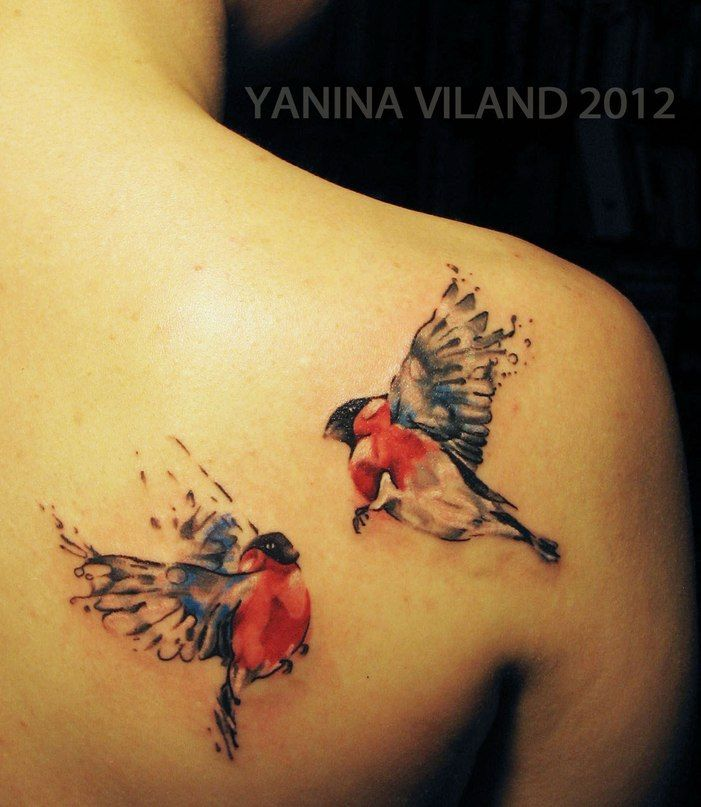 I would so get a birdie like this on me!  tattoo by Yanina Viland watercolour birds
