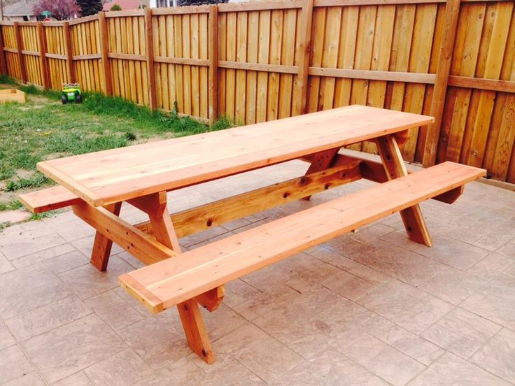Redwood Picnic Table, 8' long