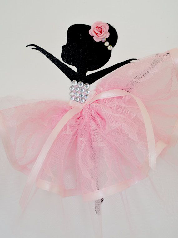 Ballerina nursery wall art in pink and white. Girls by FlorasShop