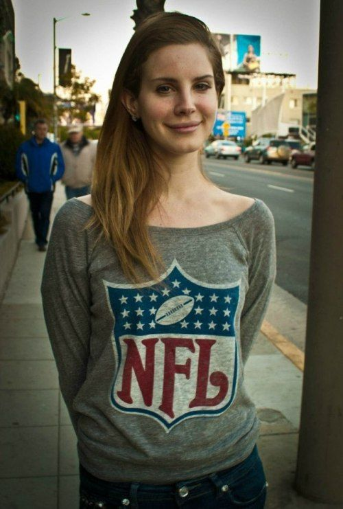 Got your bible, got your gun // Lana Del Rey in an NFL sweatshirt Born to Die era street style inspiration