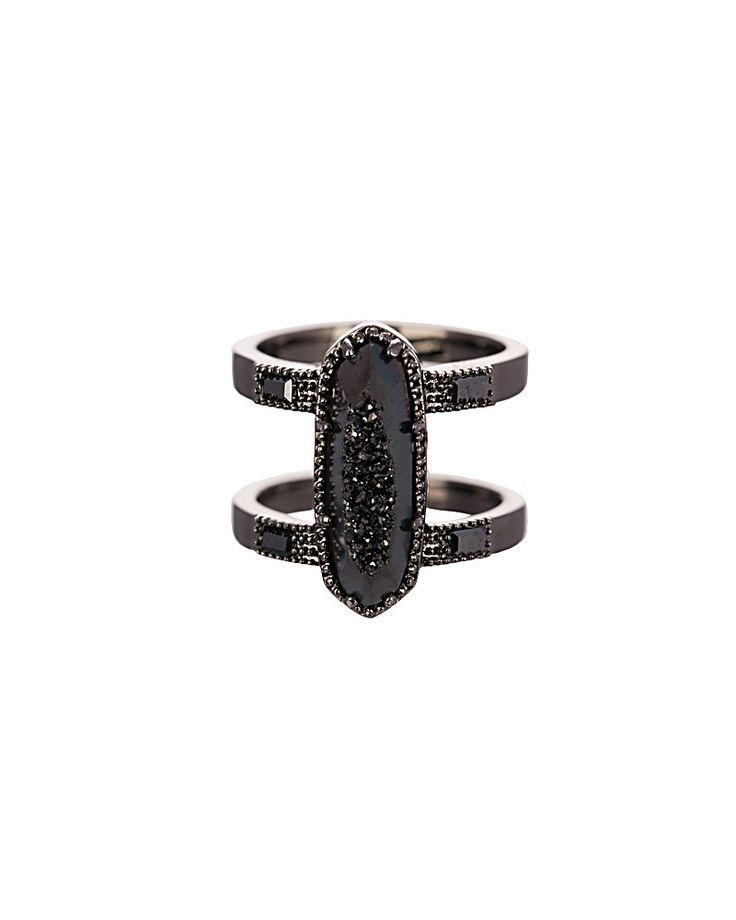 McKenzie Double Band Ring in Black Drusy - Kendra Scott Jewelry.