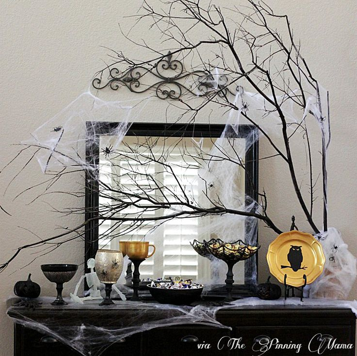 diy creepy halloween black gold candy buffet with martha stewart decoupage by thepinningmama - Martha Stewart Halloween Decor