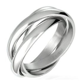 triple russian interlocked stainless steel men unisex wedding band rings size 7 comfort fit