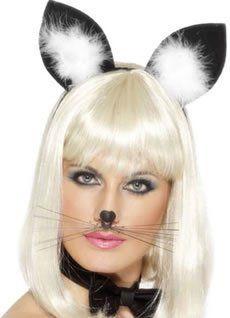 Smiffy's - Katzenohren Haarreif Ohren zum Kostüm Harr Reif schwarz Fasching Kätzc