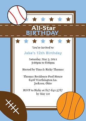 Customizable birthday party invitations - Sports themed boy birthday party