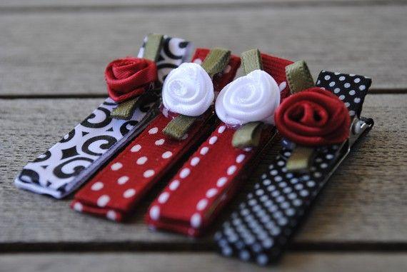 Flowers on clippies- hebillas forradas con cinta #ribbon con flores
