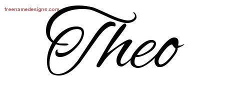 The Name Theo | Theo Cursive Name Tattoo Designs Free Lettering