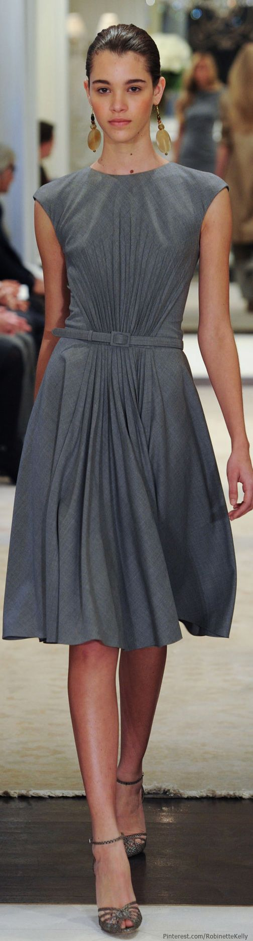 Ralph Lauren 2014. Belted gray dress with pleats all gathering at the waist. Cap sleeves.