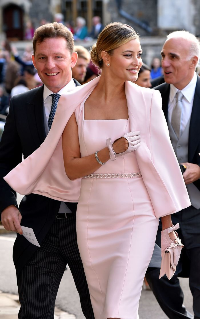 ef942ee2 Princess Eugenie wedding guests: Holly Candy wearing a pink dress and jacket