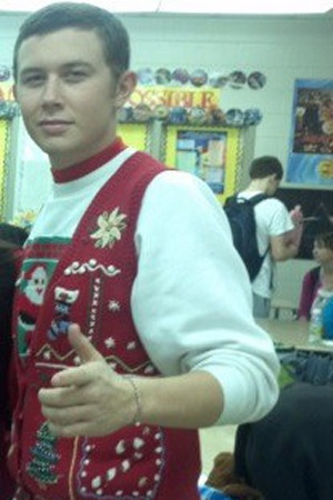 Scotty McCreery in an ugly Christmas sweater