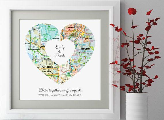 Larga distancia novio regalo personalizado larga por LovetoArtCo