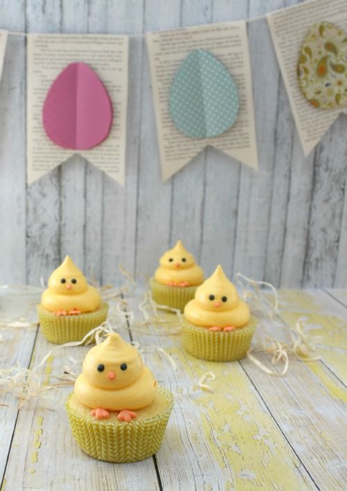 These Easter cupcakes make adorable Easter Chick Bites. More Easter Food Craft Ideas for the Kids including Chick Recipes, Sheep Cupcakes, Peeps Recipes and More.