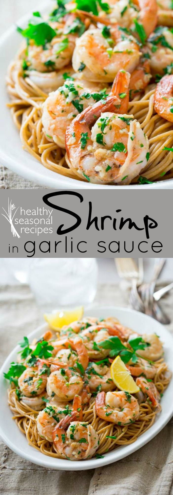 This Healthy Shrimp in Garlic Sauce is super easy to make and it's ready in only 20 minutes! It's naturally gluten-free too! - Healthy Seasonal Recipes