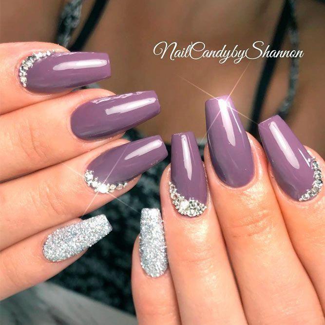 Dark Mauve Purple Nails With Tiny Rhinestones Bottom Design #rhinestonesnails #c…