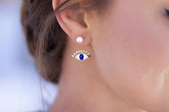 Gold Evil Eye Ear Jacket Earrings  Ear by ExperimentalJewels
