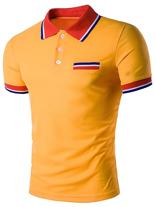 Striped Polo T-Shirt with Fake Pocket - YELLOW XL