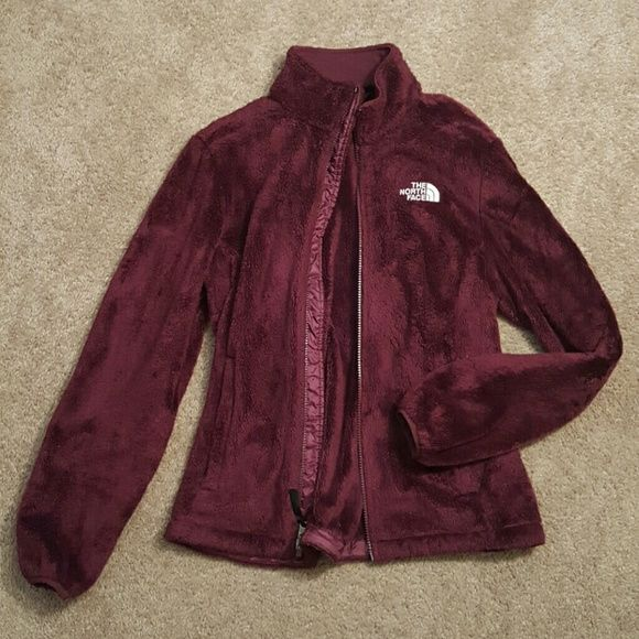 Burgundy North Face Osito Jacket Soft fuzzy jacket. It has been worn and washed several times and still is in great condition. North Face Jackets & Coats
