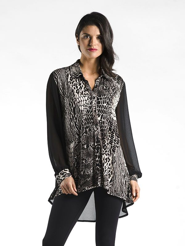 Animal Print Button Down with Chiffon Sleeve - A breezy top in a timeless print, and a hi-low hem, perfect for fall layering. Could be worn with leggings or jeans.
