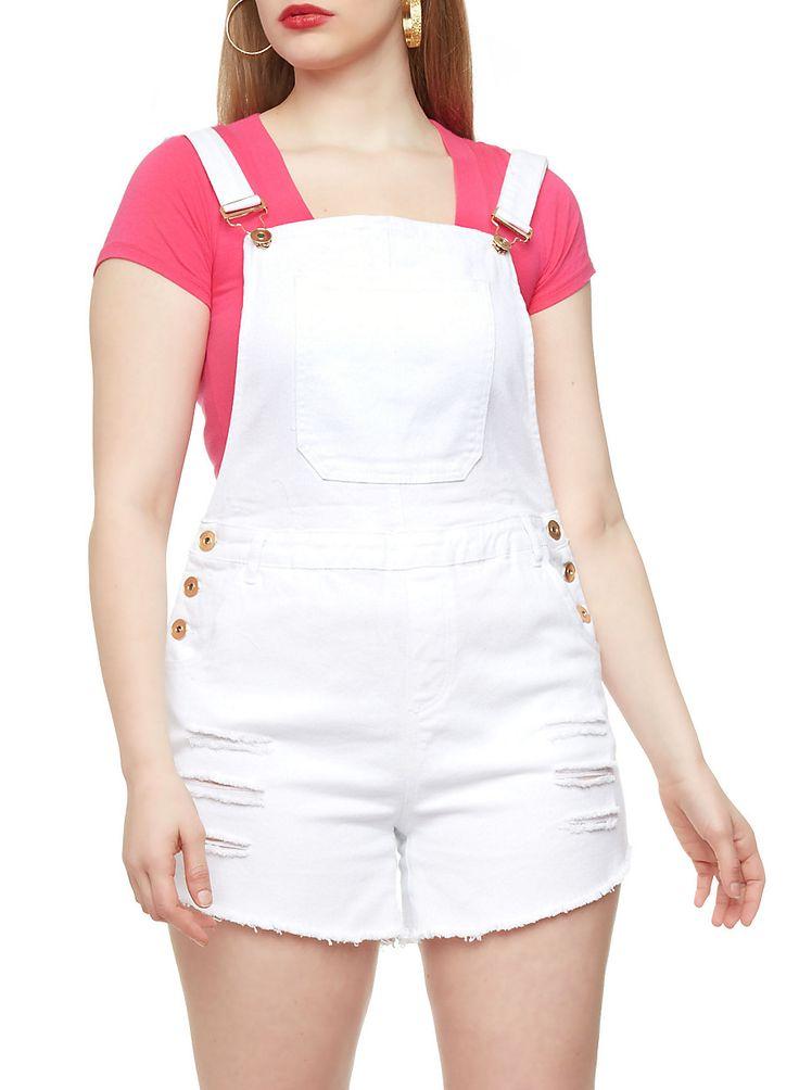 Plus Size Distressed Denim Cutoff Overall Shorts - Rainbow - 0871061658070