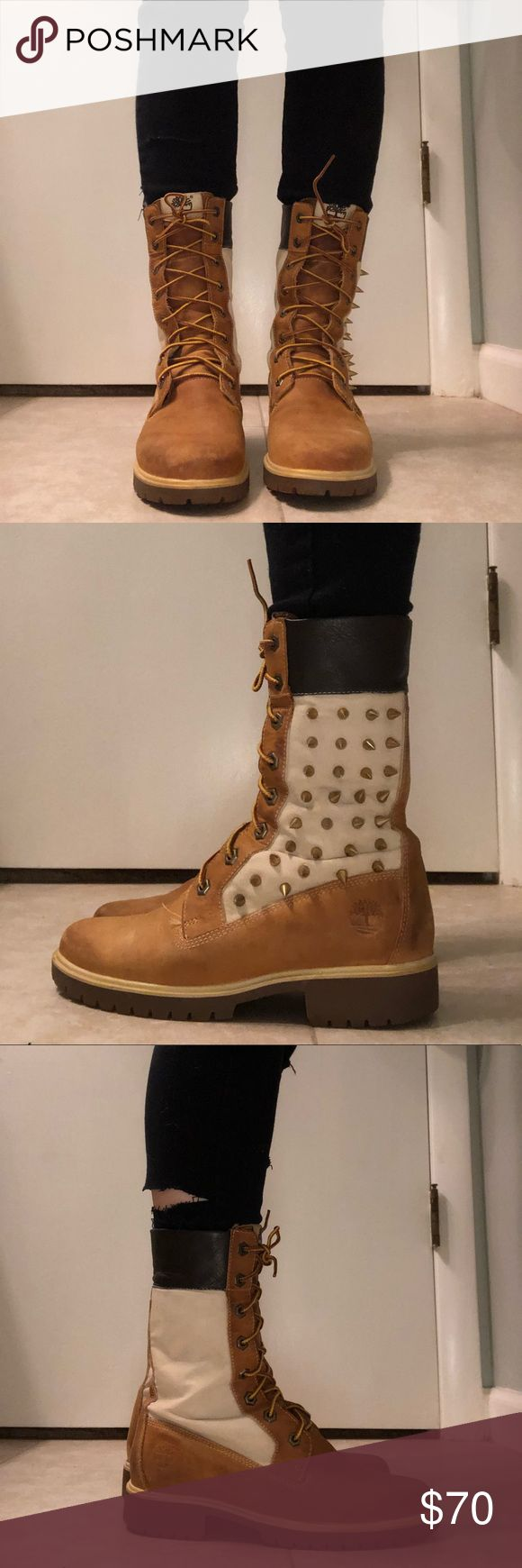 """Woman's custom timberlands !authentic! Custom timberlands, 6"""" boot with studding on one of the boots. I got them studded by a friend who customizes shoes. Stained, but can be cleaned... I just don't own suede cleaner.  There is some wear-and-tear but it is minimal and not obvious. (This is reflected in the price.) asking 70 or best offer. Timberland Shoes Lace Up Boots"""