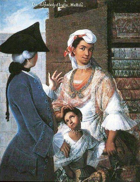 1763 Caste Painting Series by Miguel Cabrera (c 1695-1768) De Español y d'India; Mestisa