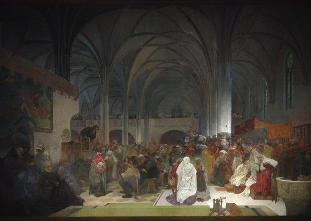 'The Slav Epic' cycle No.8: Master Jan Hus Preaching at the Bethlehem Chapel: Truth Prevails. Jan Hus was one of the most influential clergymen of the Czech Reformation. He rejected the Catholic Church's excesses and argued that the Bible was the only true source of God's word. In 1414 he was summoned to defend his teaching. Despite holding a safe pass issued by the Holy Roman Emperor Sigismund, he was declared a heretic and burned at the stake.