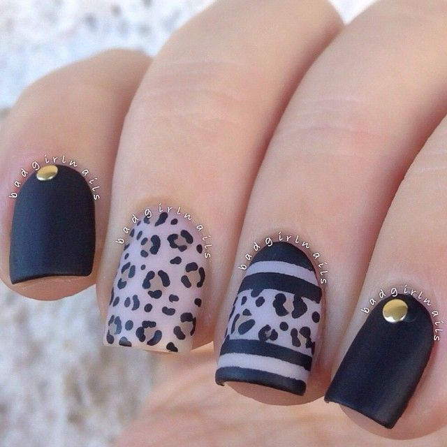Cute black leopard nails by A Nail Addict Named Sonia @badgirlnails Instagram photos
