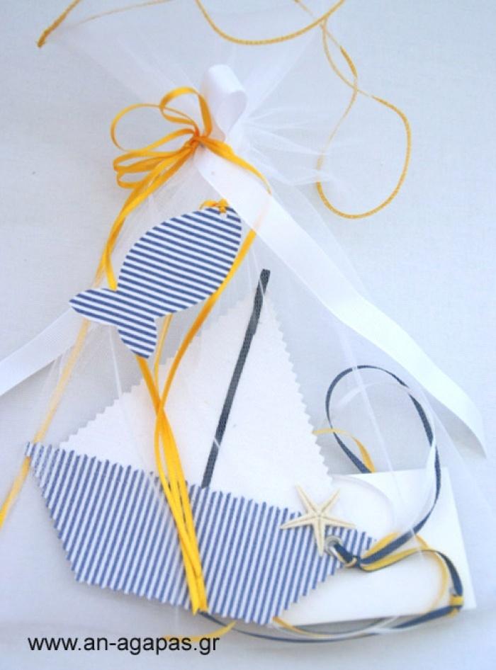 Υφασμάτινο προσκλητήριο βάπτισης κρεμαστό καραβάκι | an-agapas.gr