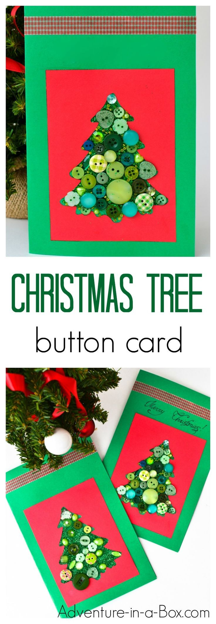 Make a Christmas tree with buttons and put it on a handmade Christmas card. Even toddlers and kids can make this winter craft!