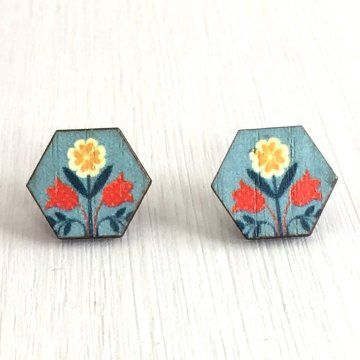 Need a SRING in your step each day? These Spring Flower Wooden Hexagon Studs will do the trick!