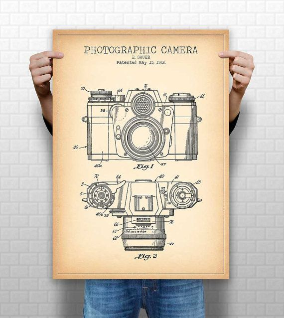 VINTAGE CAMERA poster camera patent camera blueprint by PrintPoint