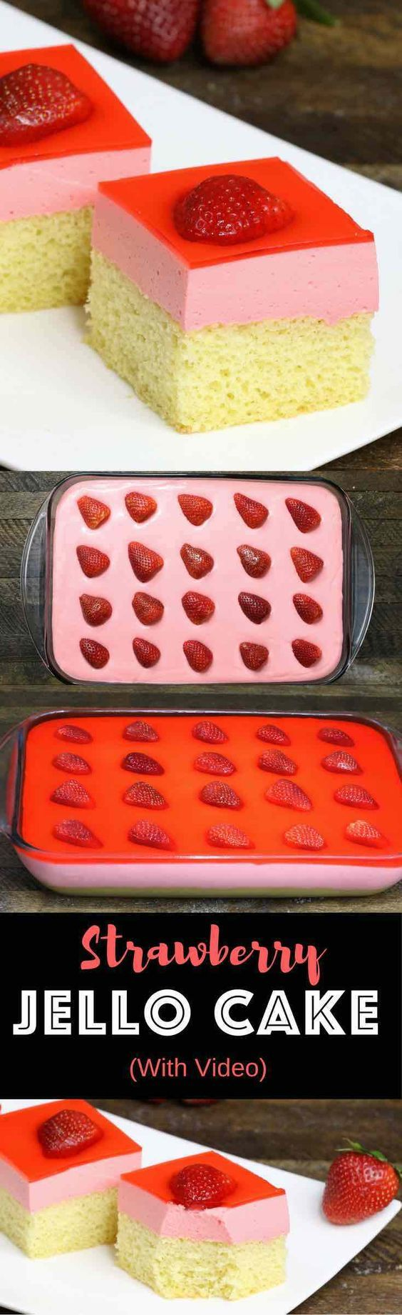 Wow your guests with this amazing Strawberry Jello Cake! A delicious 3-layer dessert to make for birthday parties or special occasions.